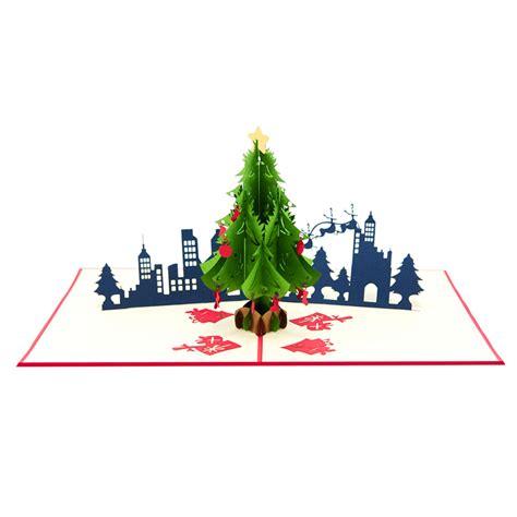 christmas city night pop  card christmas tree kirigami