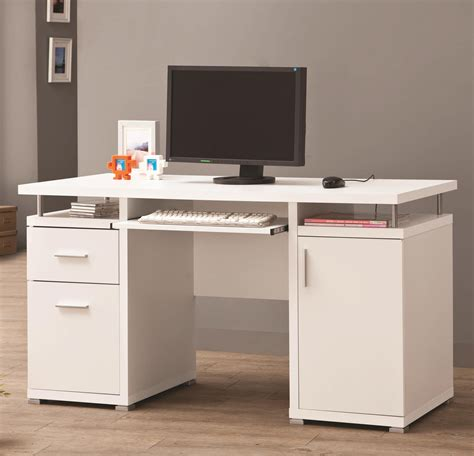 Desks Computer Furniture White Desk With Drawers And Shelves For House And Office Equipment Founded Project