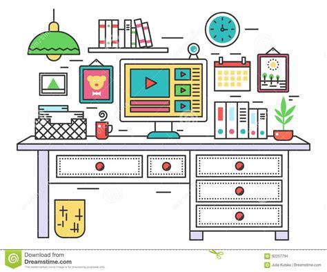 flat  design workplace desk creative office room