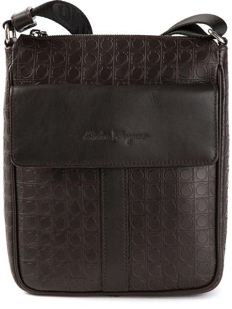 Salvatore Ferrragamo Bag W2498 lyst ferragamo logo embossed messenger bag in brown for