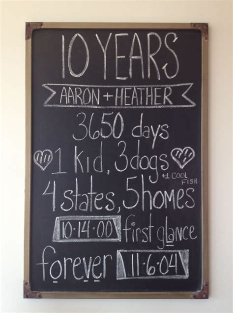 10 Year Anniversary Ideas For - best 25 anniversary chalkboard ideas on 40th