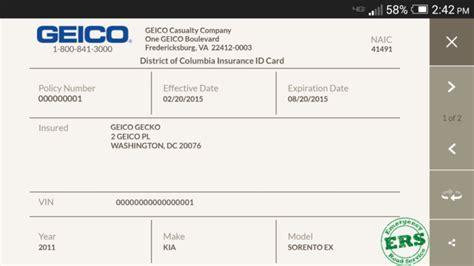 Geico Car Insurance Card Template » ibrizz.com