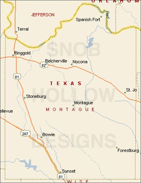 map of montague county texas montague county texas color map
