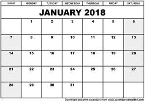 Calendar 2018 Printable Excel January 2018 Calendar Template Calendar Template Excel