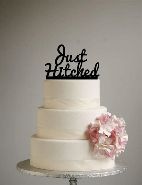 just hitched wedding cake topper acrylic shabby chic