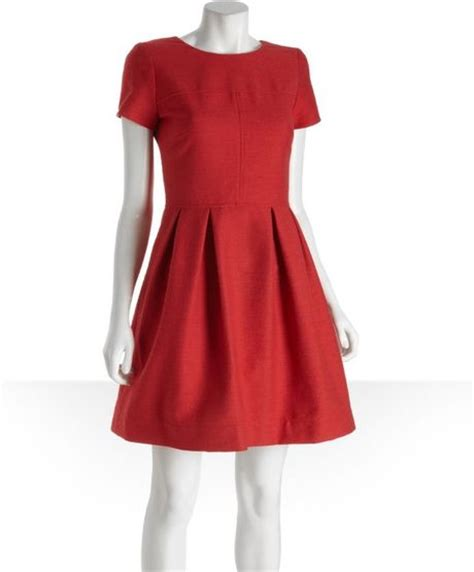 shoshanna cotton tweed allison pleated skirt dress in