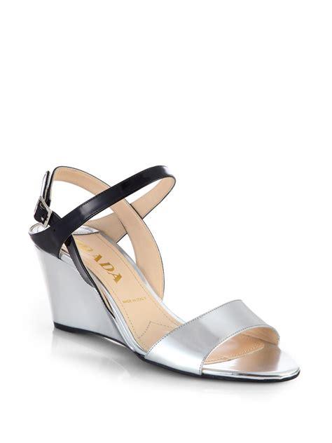 Sandal Wanita Wedges Jnr Black Silver prada metallic patent leather slingback wedge sandals in silver black silver lyst