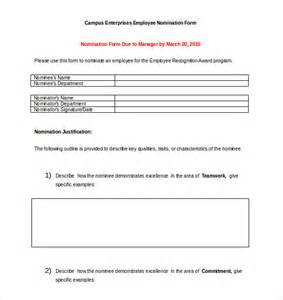 employee form template award nomination form template 12 free word pdf