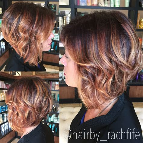 chocolate hair color with highlights for angled bobs short angled bob rich red base with golden blonde balayage