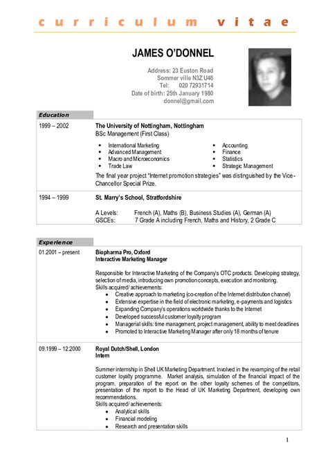 Latest Resume Sample In Pdf by Cv Sample Cv Expert
