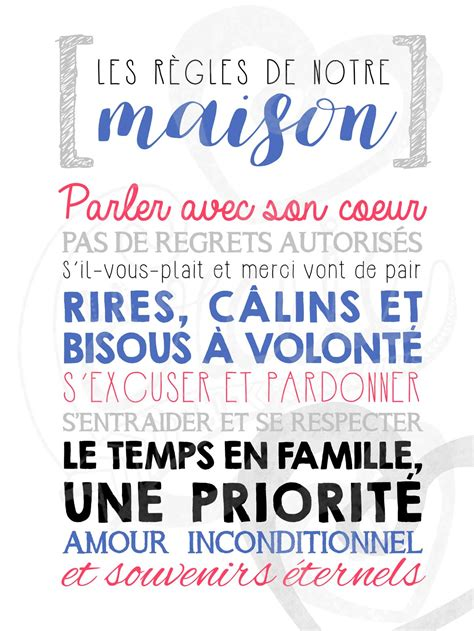 Regle De La Maison A Imprimer by Regle A La Maison Avie Home