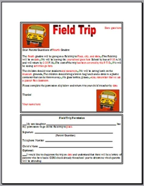 field trip announcement template primary school trip letter to parents sles school