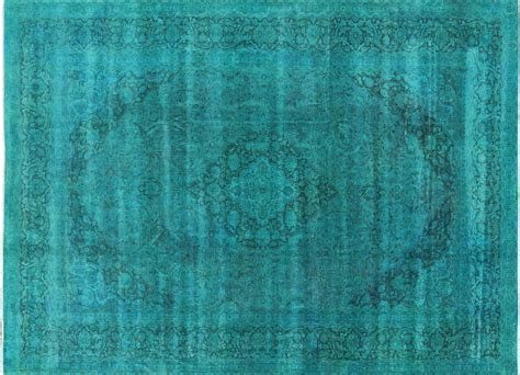 10 Rug Teal by 10x13 Teal Blue Overdyed Floral Knotted