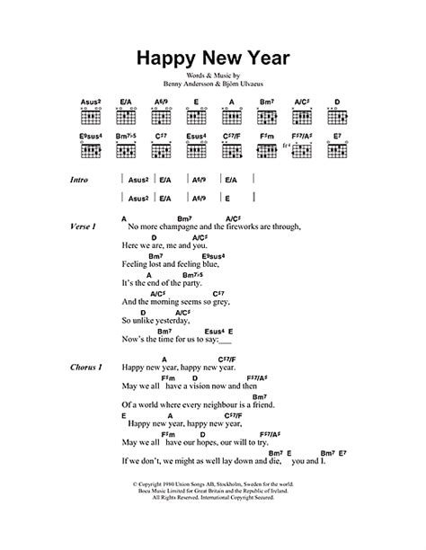 abba happy new year sheet music