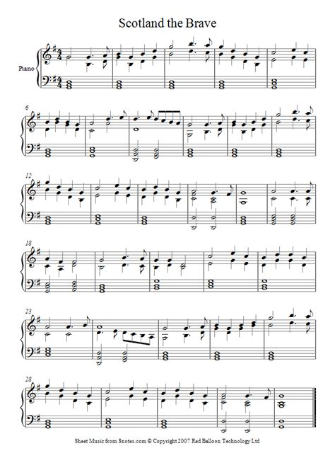 Scotland The Brave by Scotland The Brave Sheet For Piano 8notes