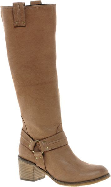 asos chocolate chip leather knee high boots with mid heel