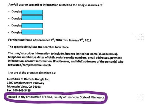County Mn Warrant Search Judge Issues Search Warrant For Anyone Who Googled A Victim S Name The Register