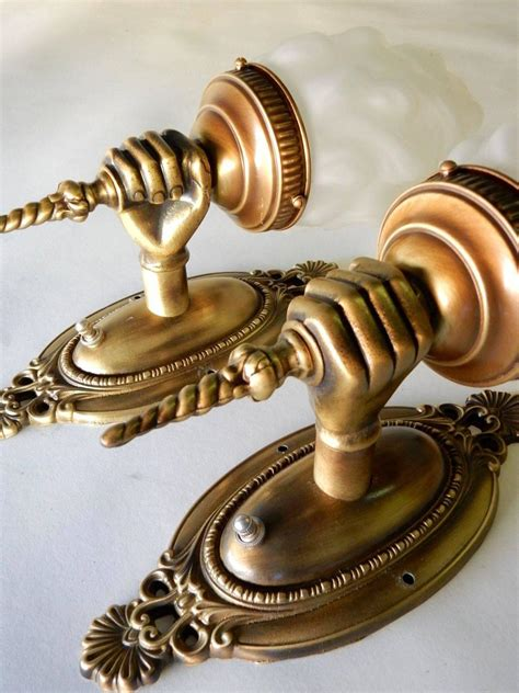 Antique Brass Wall Sconce Pair Antique Brass Torch Wall Sconce Ls At 1stdibs