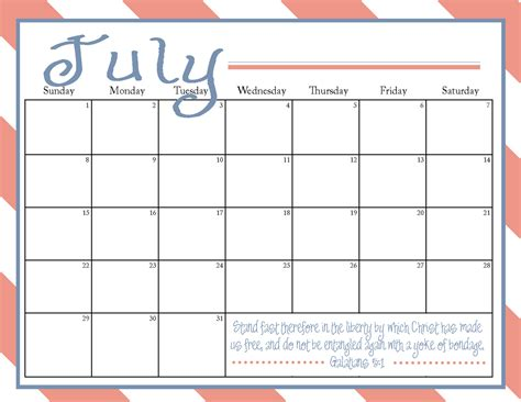 Calendars To Print The Blogging Pastors Printable July 2012 Calendar