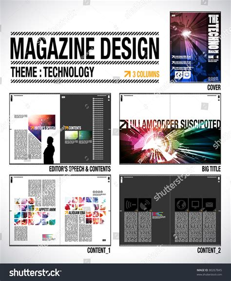 design technology journal magazine layout design template cover 8 stock vector