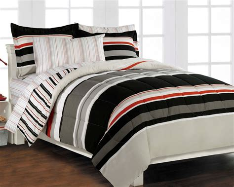 guys comforter sets nautical stripe gray 5p boys teen bedding set twin ebay