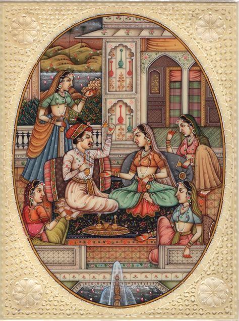Paintings Handmade - mughal indian miniature handmade watercolor mogul