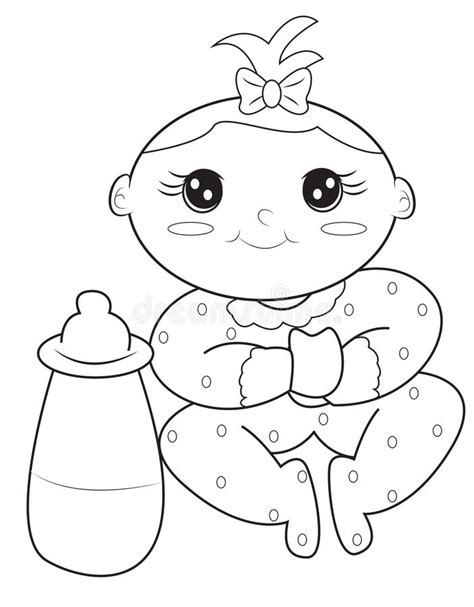 coloring page of a baby girl baby girl coloring page stock illustration illustration