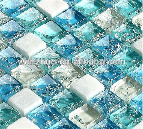 blue broken glass brick mosaic tile in mosaics from home