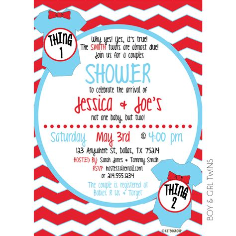 Thing One Thing Two Baby Shower Invitation Kateogroup Thing 1 Editable Template