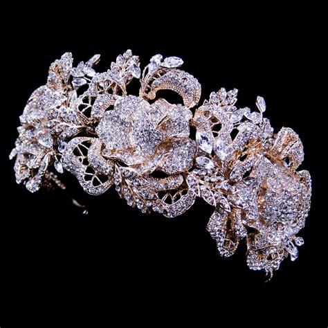 rose tiara stunning sparkling rhinestone rose bridal tiara headpiece