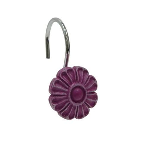 purple shower curtain hooks elegant home fashions resin flower design shower curtain