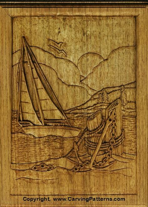 sailboat relief wood carving project  beginners