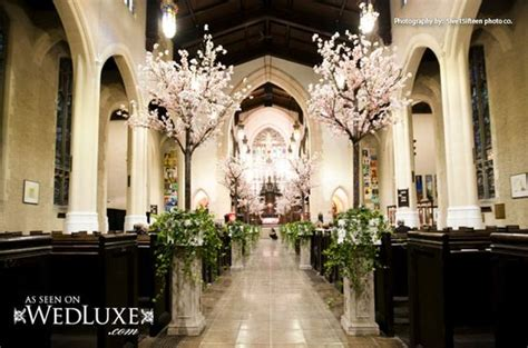 Wedding Aisle Trees by Wedluxe Cherry Blossoms Trees Lining The Aisle Floral