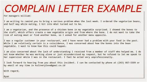 Letter Of Complaint About Expired Food Complaint Letter Exle Sles Business Letters