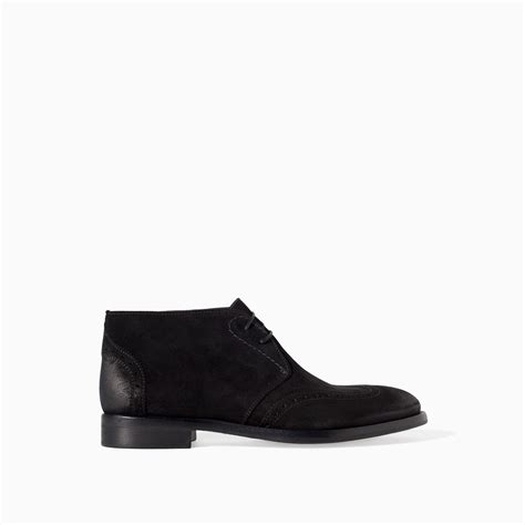 zara waxed leather ankle boot in black for lyst