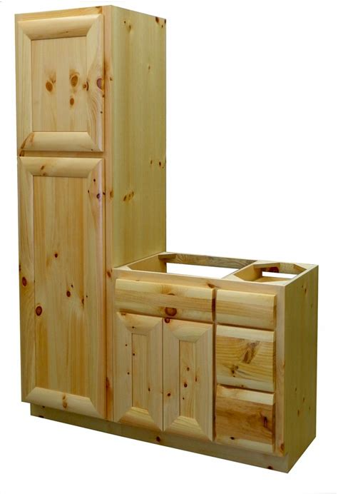 Knotty Pine Vanity Knotty Pine Half Log Vanity W Linen Cabinet Log Home Vanity The Log Furniture Store