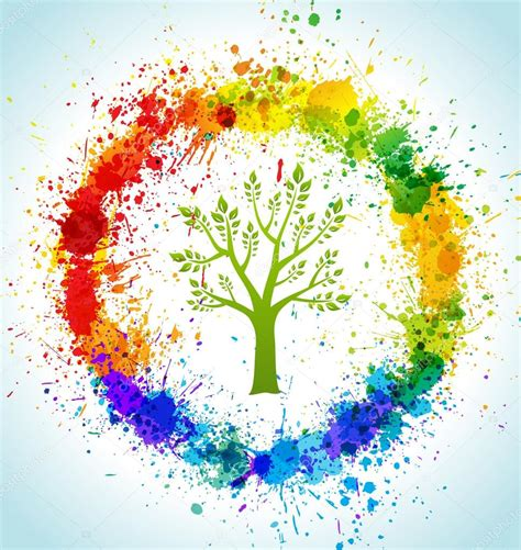 color paint splashes eco background vector tree and frame vettoriali stock 169 designer things