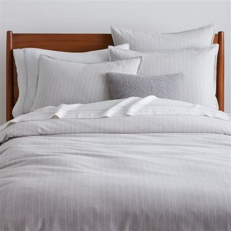 pinstripe bedding flannel pinstripe duvet cover shams frost gray west elm