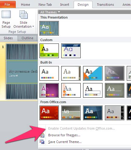 powerpoint 2010 built in themes what s the best built in powerpoint theme laura m