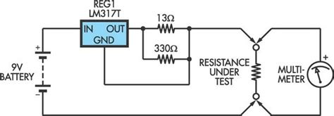 how to make a low ohm resistor low ohms adaptor for dmms based on an lm317 regulator circuit diagram