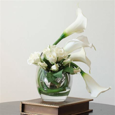 flower arrangements home decor real touch white ivory calla lily rose artificial faux