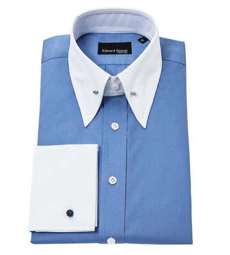 Blues Collar sky blue slim fit pin collar shirt with white collar and cuffs