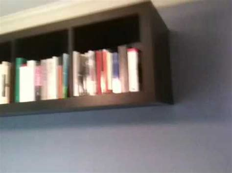 Wall Bookcase Ikea Expedit Mounted To Wall Youtube