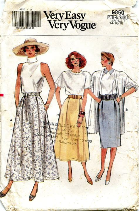 vogue pattern ease vintage 1980s skirt pattern very easy very vogue by