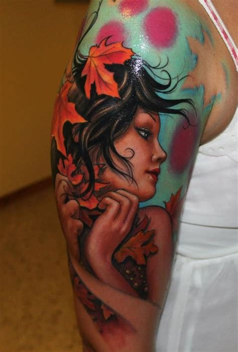 cartoon realism tattoo sweet cartoon like realistic cute woman tattoo on shoulder