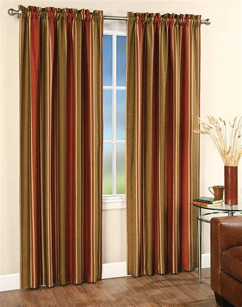 Panel Drapes faux silk stripe window curtain panel curtainworks