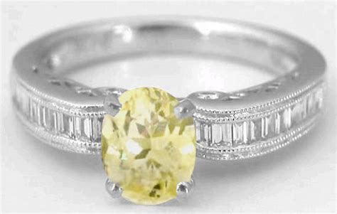 light yellow sapphire ring 1 39 ctw yellow sapphire ring with 0 29 ctw