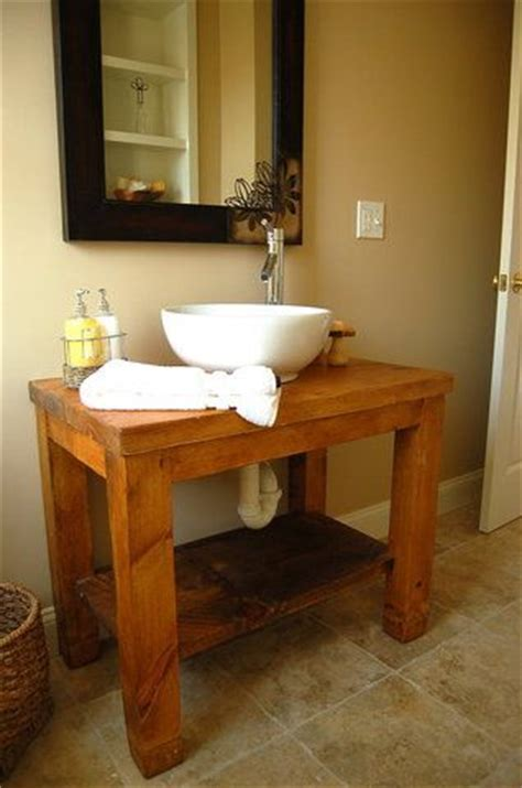 Farm Table Vanity by Farm Table For The Bathroom Minus The Exposed Piping I Think Cabinet Doors Would Be Better