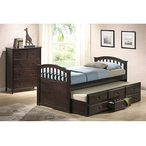 trundle bed walmart san marino captain bed with trundle and drawers dark