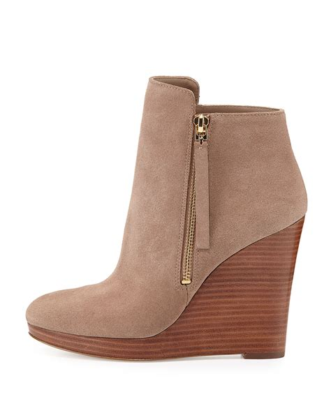 Booth Wedges Versace 918 lyst michael michael kors clara suede wedge bootie in